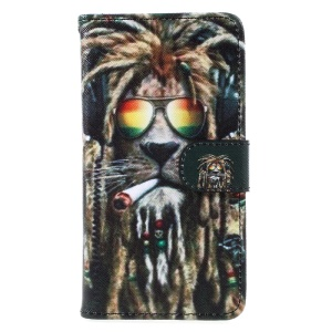 Pattern Printing Wallet Leather Stand Cover for Samsung Galaxy A5 (2017) A520 - Smoking Lion