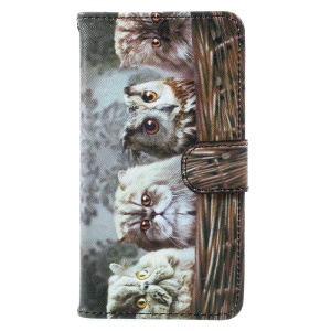 Pattern Printing Wallet Leather Magnetic Case for Samsung Galaxy A5 (2017) A520 - Cat and Owl Pattern