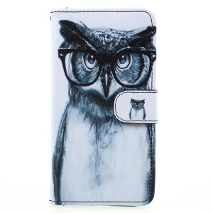 Pattern Printing Wallet Leather Phone Case for Samsung Galaxy A5 (2017) A520 - Owl Wearing Glasses