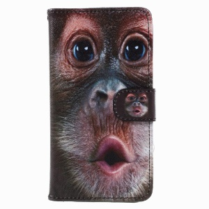 Patterned Wallet Leather Cover Case for Samsung Galaxy A5 (2017) A520 - Monkey Pattern
