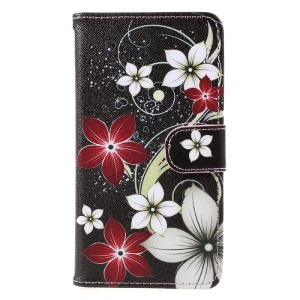 Pattern Printing Wallet Leather Mobile Phone Case for Samsung Galaxy A5 (2017) A520 - Flowers Pattern