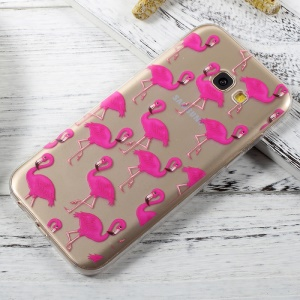 Ultra Thin Patterned Clear TPU Back Case for Samsung Galaxy A3 (2017) - Rose Flamingos
