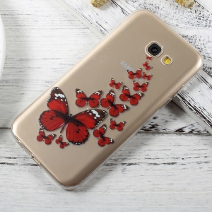Patterned Thin Clear TPU Mobile Casing for Samsung Galaxy A3 (2017) - Red Butterflies