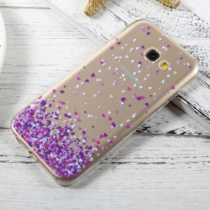 Ultra Thin Patterned TPU Back Cover Case for Samsung Galaxy A3 (2017) - Purple Hearts