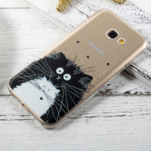 Ultra Thin Pattern Printing TPU Gel Case for Samsung Galaxy A3 (2017) - Black and White Cats