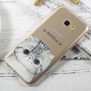 For Samsung Galaxy A5 (2017) A520 Patterned Clear Soft TPU Phone Case - Meow Cat