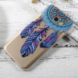 Patterned Clear TPU Jelly Cover Case for Samsung Galaxy A5 (2017) A520 - Tribal Feather Dreamcatcher