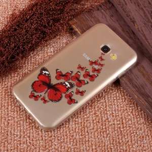 Patterned Ultra Thin TPU Cell Phone Shell for Samsung Galaxy A5 (2017) SM-A520F - Red Butterflies