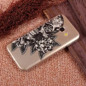 Ultra Thin Patterned Soft TPU Protective Cover for Samsung Galaxy A5 (2017) SM-A520F - Skull with Rose
