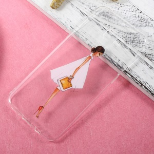 Patterned Clear TPU Gel Case for Samsung Galaxy S8 Plus - Fashion Girl Holding Bag