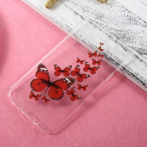 Patterned TPU Clear Case Accessory for Samsung Galaxy S8 Plus - Red Butterflies