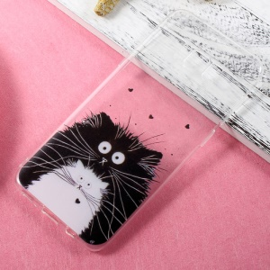Ultra-thin Patterned TPU Mobile Casing for Samsung Galaxy S8 Plus - Black and White Cats