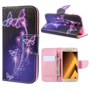 Pattern Printing Leather Wallet Case for Samsung Galaxy A5 (2017) SM-A520F - Butterflies Pattern