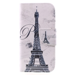 Pattern Printing Wallet Leather Protective Case for Samsung Galaxy A5 (2017) SM-A520F - Eiffel Tower