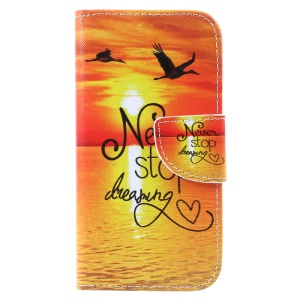 Pattern Printing Protective Leather Wallet Case for Samsung Galaxy A5 (2017) SM-A520F - Quote Never Stop Dreaming