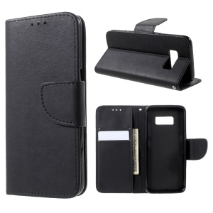 Stone Grain Leather Wallet Stand Case with Strap for Samsung Galaxy S8 - Black