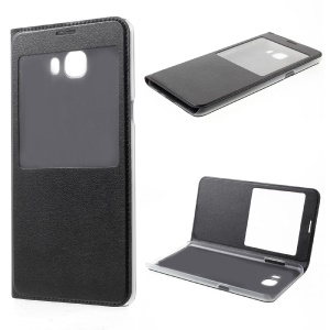 View Window Leather Mobile Phone Case for Samsung Galaxy C9 Pro - Black