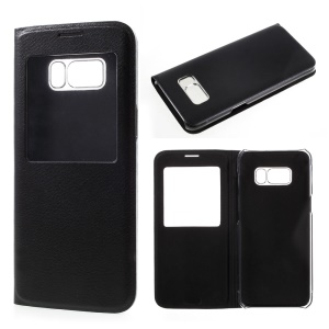 For Samsung Galaxy S8 Plus View Window Leather Flip Case Cover - Black