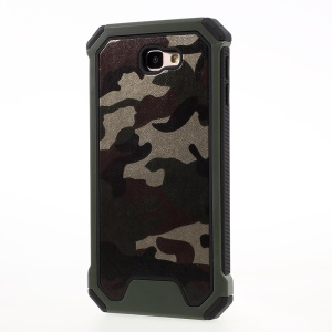 For Samsung Galaxy J7 Prime/On7 2016 Camouflage Leather Coated PC TPU Hybrid Phone Cover - Army Green