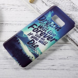 In-Mold Decoration IMD TPU Cover for Samsung Galaxy S8 - Mountain Scene and Quote