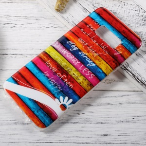 IMD TPU Case Cover Accessory for Samsung Galaxy S8 - Colorful Stripes Wood and Quotes