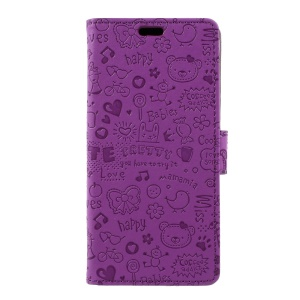 Cartoon Graffiti Phone Leather Wallet Case for Samsung Galaxy S8 - Purple