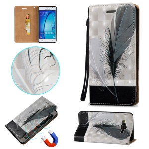 Embossment Auto-absorbed Leather Card Slot Stand Case for Samsung Galaxy On5 - Feather