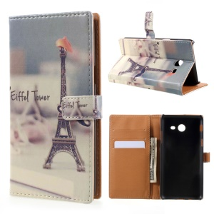Pattern Printing Wallet Leather Stand Case for Samsung Galaxy J5 (2017) - Eiffel Tower and Mustache
