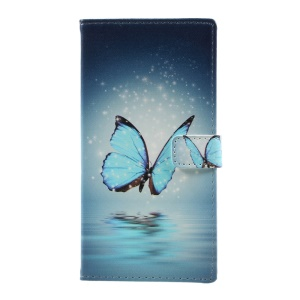 Pattern Printing Leather Card Holder Case for Samsung Galaxy J5 (2017) - Blue Butterfly