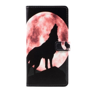 Pattern Printing Wallet Leather Magnetic Case for Samsung J7 Prime/On7 2016 - Wolf Howling at the Moon