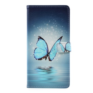 Pattern Printing PU Leather Stand Case for Samsung J7 Prime/On7 2016 - Blue Butterfly