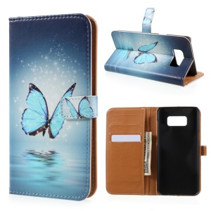 Pattern Printing Leather Wallet Case for Samsung Galaxy S8 Plus - Blue Butterfly