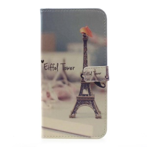 Pattern Printing Leather Wallet Cover for Samsung Galaxy S8 Plus - Eiffel Tower and Mustache