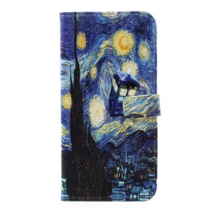Pattern Printing Leather Card Holder Case for Samsung Galaxy S8 Plus - Starry Night