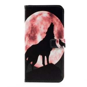 Pattern Printing Folio Leather Wallet Case for Samsung Galaxy S8 Plus - Wolf Howling at the Moon