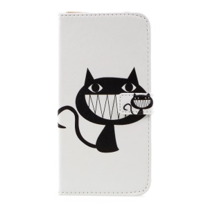 Pattern Printing Phone Leather Wallet Case for Samsung Galaxy S8 Plus - Black Cat