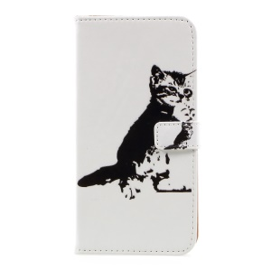 Pattern Printing Wallet Leather Protective Case for Samsung Galaxy S8 Plus - Black and White Cat