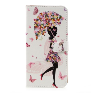 Pattern Printing PU Leather Wallet Case for Samsung Galaxy S8 Plus - Flowered Girl Holding Umbrella