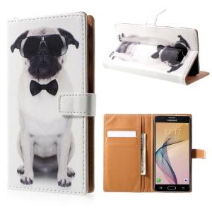 Pattern Printing Leather Wallet Case for Samsung Galaxy J5 Prime/On5 2016 - Dog Wearing Sunglasses
