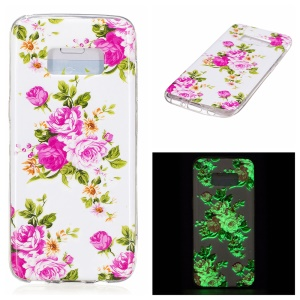 For Samsung Galaxy S8 Luminous IMD TPU Mobile Phone Case - Blooming Peonies