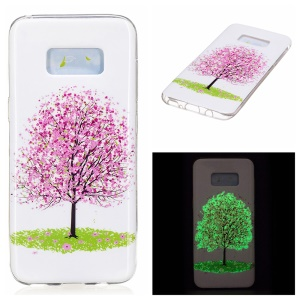 For Samsung Galaxy S8 Luminous IMD TPU Cell Phone Case Cover - Pink Flower Tree