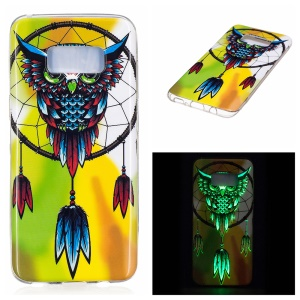 For Samsung Galaxy S8 Luminous IMD Soft TPU Case - Owl and Dream Catcher