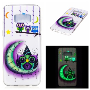 For Samsung Galaxy S8 Luminous IMD TPU Back Case - Owls, Moon and Stars