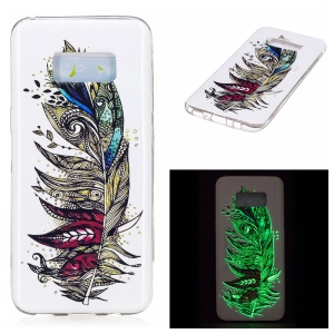 For Samsung Galaxy S8 Noctilucent IMD TPU Mobile Phone Case - Tribal Feather