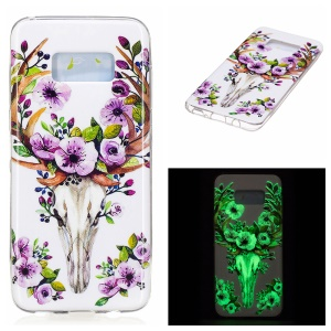 For Samsung Galaxy S8 Noctilucent IMD Soft TPU Phone Shell - Flowered Elk
