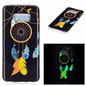 For Samsung Galaxy S8 Luminous IMD Jelly Case Cover - Feather Dreamcatcher