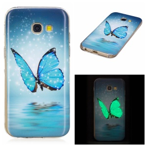 Noctilucent TPU Flexible Case for Samsung Galaxy A5 (2017) SM-A520F - Blue Butterfly