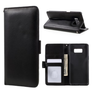 Smooth Leather Wallet Phone Case for Samsung Galaxy S8 Plus - Black