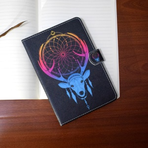 Patterned Leather Case for Samsung Galaxy Tab A 10.1 (2016) T580 T585 - Deer Head Dreamcatcher
