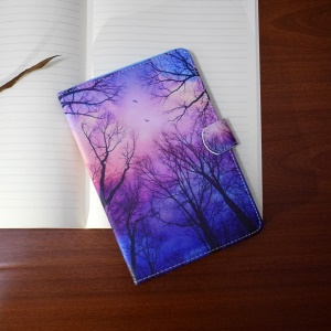 Patterned Leather Case for Samsung Galaxy Tab A 7.0 T280 T285 - Birds Flying over the Woods